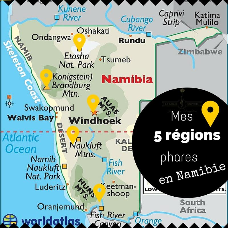 carte région namibie