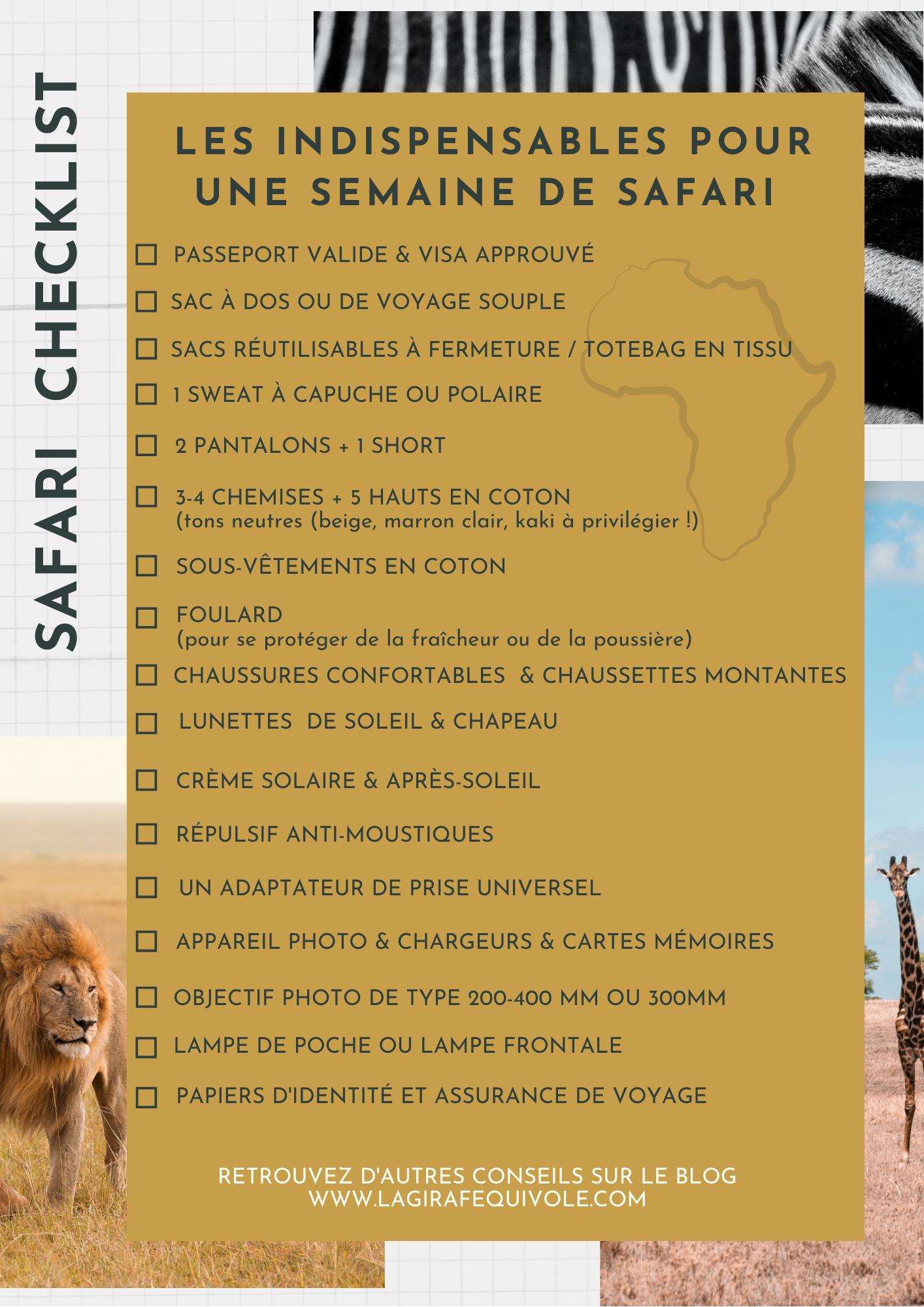checklist valise safari